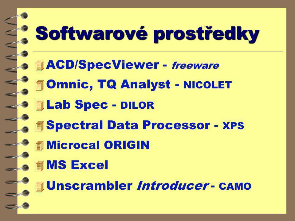 Softwarové prostředky 4 ACD/SpecViewer - freeware 4 Omnic, TQ Analyst - NICOLET 4 Lab Spec - DILOR 4 Spectral Data Processor - XPS 4 Microcal ORIGIN 4 MS Excel 4 Unscrambler Introducer - CAMO