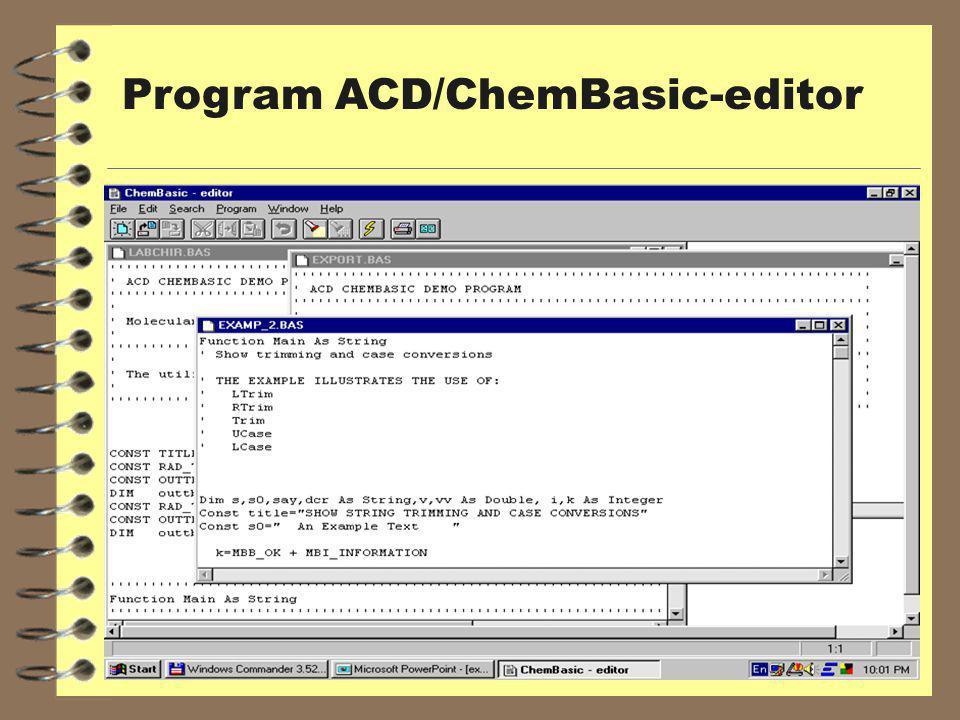 Program ACD/ChemBasic-editor