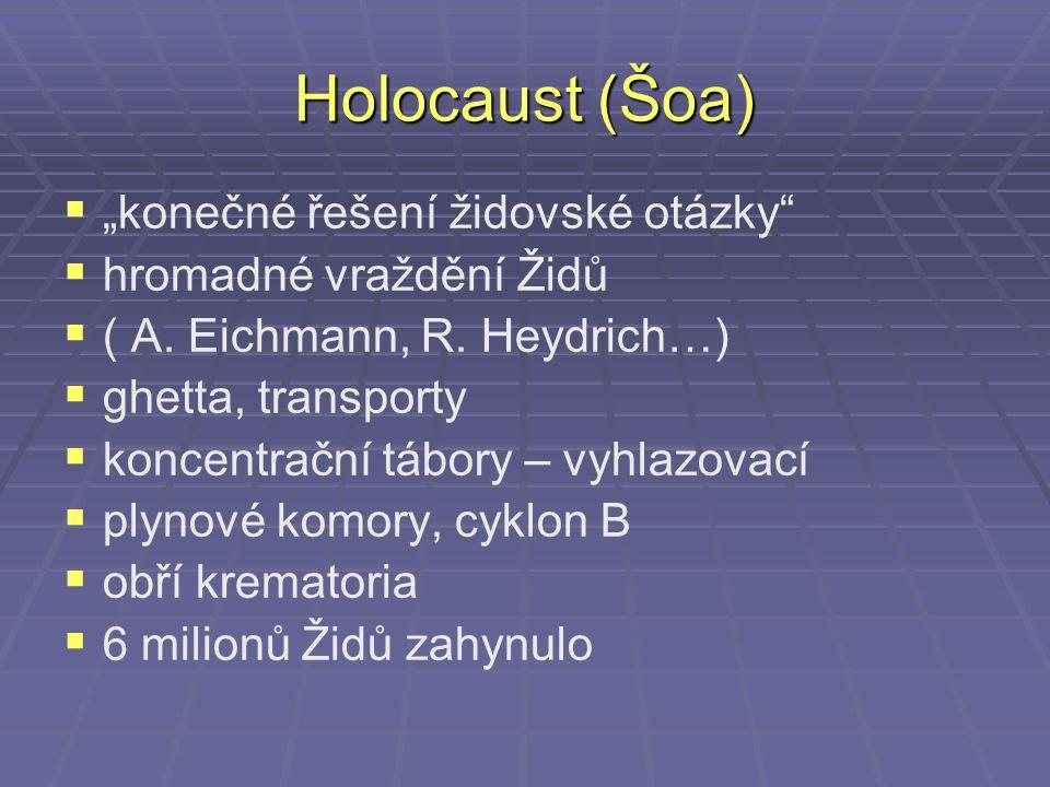 "Holocaust (Šoa)   ""konečné řešení židovské otázky""   hromadné vraždění Židů   ( A. Eichmann, R. Heydrich…)   ghetta, transporty   koncentrač"