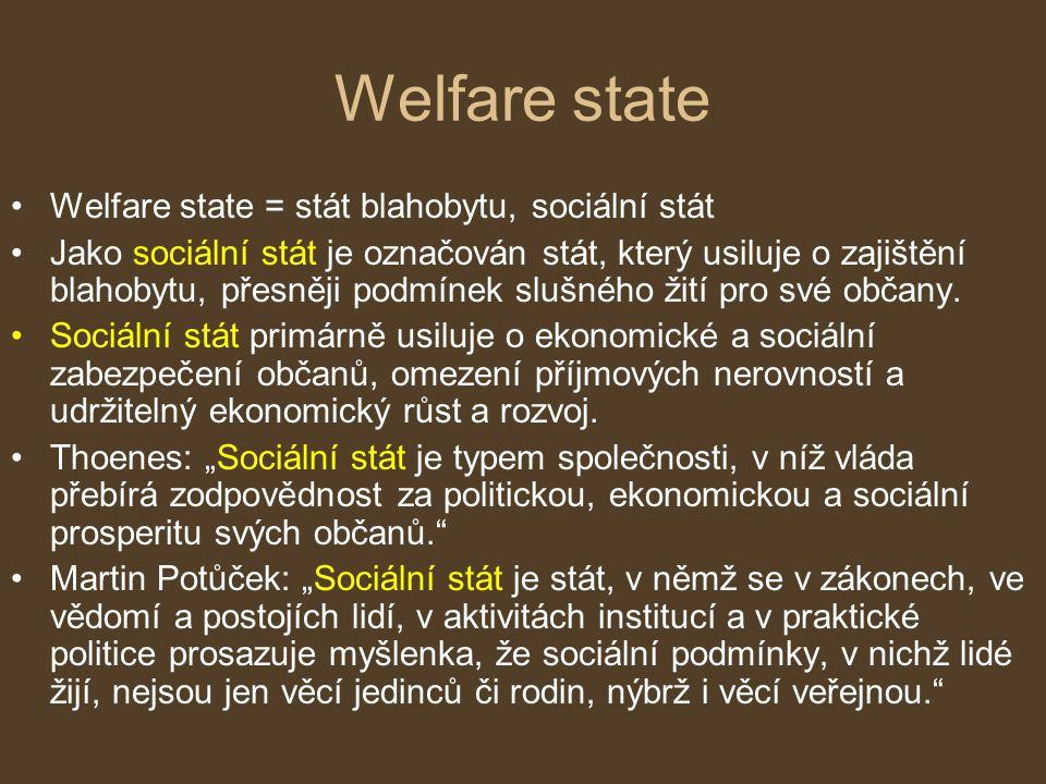 Welfare state Welfare state = stát blahobytu, sociální stát Jako sociální stát je označován stát, který usiluje o zajištění blahobytu, přesněji podmín