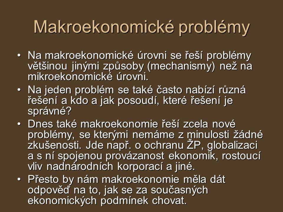 Makroekonomické problémy Na makroekonomické úrovni se řeší problémy většinou jinými způsoby (mechanismy) než na mikroekonomické úrovni.Na makroekonomi