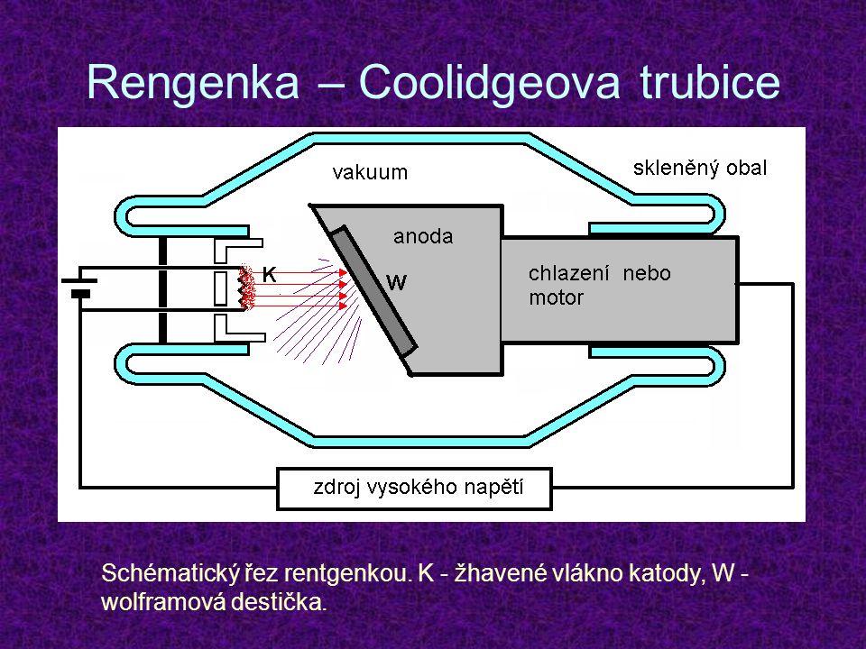 Rengenka – Coolidgeova trubice Schématický řez rentgenkou. K - žhavené vlákno katody, W - wolframová destička.