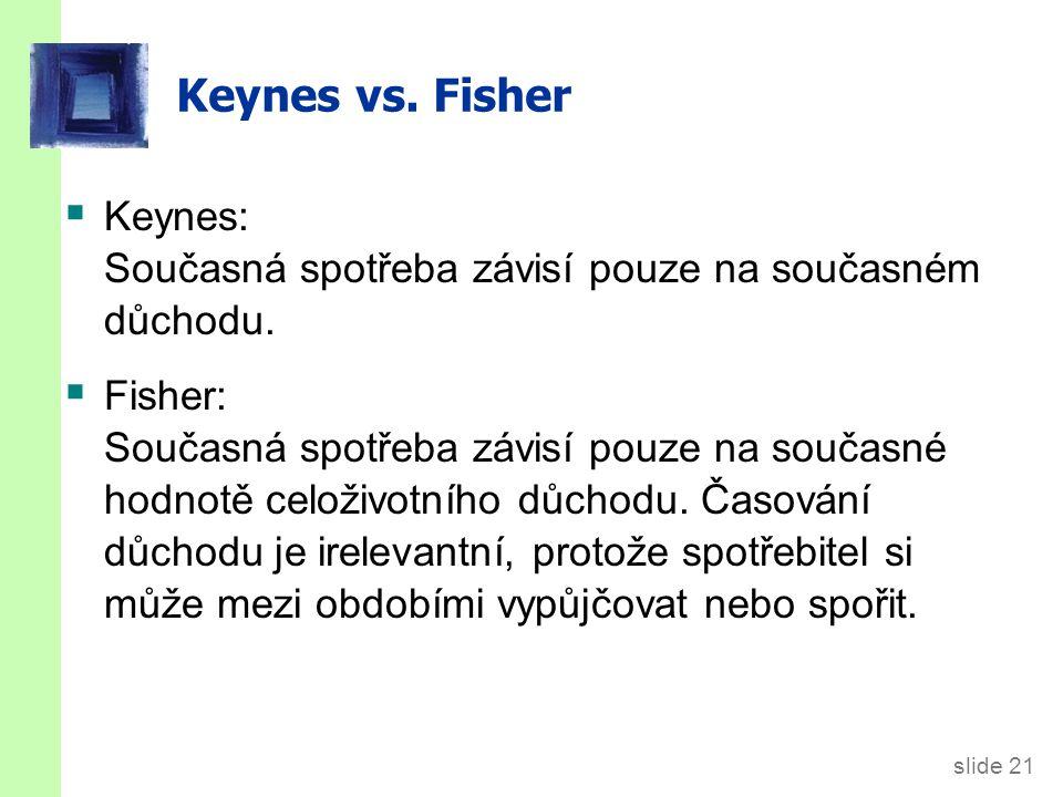 slide 21 Keynes vs. Fisher  Keynes: Současná spotřeba závisí pouze na současném důchodu.  Fisher: Současná spotřeba závisí pouze na současné hodnotě