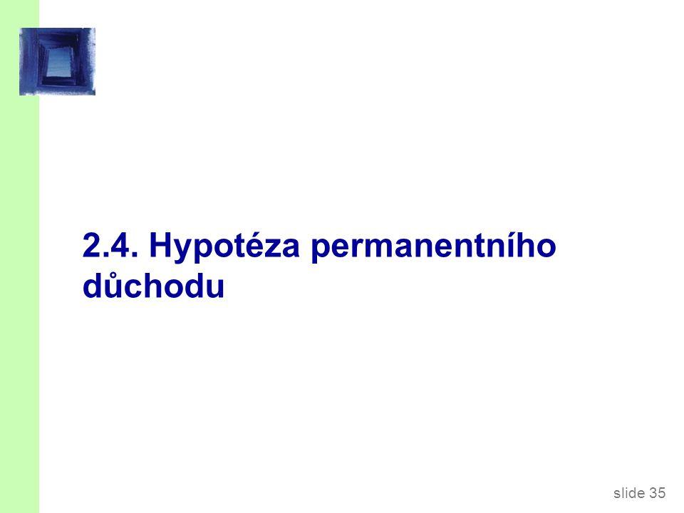 slide 35 2.4. Hypotéza permanentního důchodu
