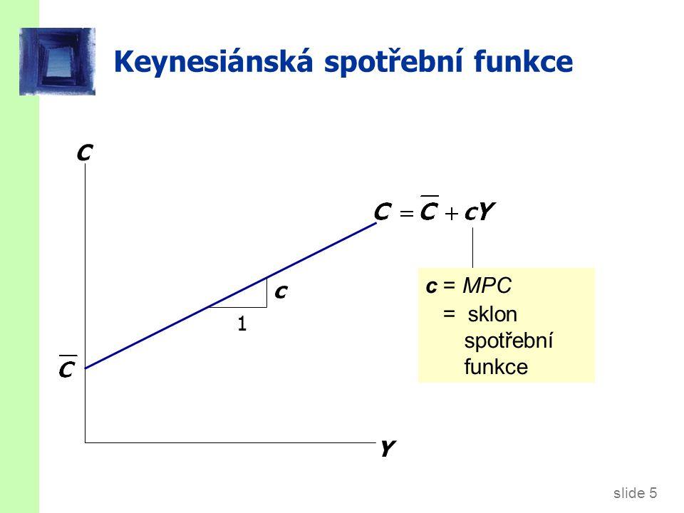 slide 5 Keynesiánská spotřební funkce C Y 1 c c = MPC = sklon spotřební funkce