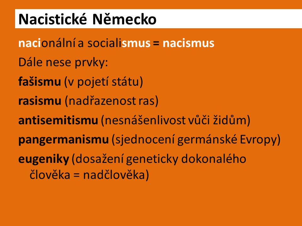 nacionální a socialismus = nacismus Dále nese prvky: fašismu (v pojetí státu) rasismu (nadřazenost ras) antisemitismu (nesnášenlivost vůči židům) pangermanismu (sjednocení germánské Evropy) eugeniky (dosažení geneticky dokonalého člověka = nadčlověka) Nacistické Německo