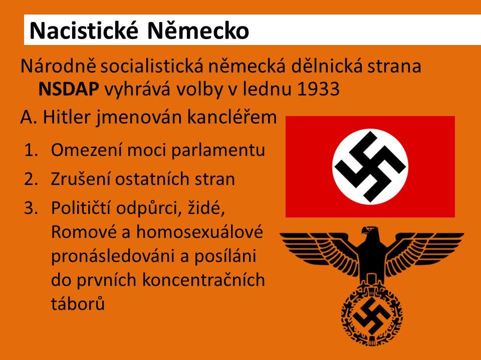 Národně socialistická německá dělnická strana NSDAP vyhrává volby v lednu 1933 A. Hitler jmenován kancléřem Nacistické Německo 1.Omezení moci parlamen