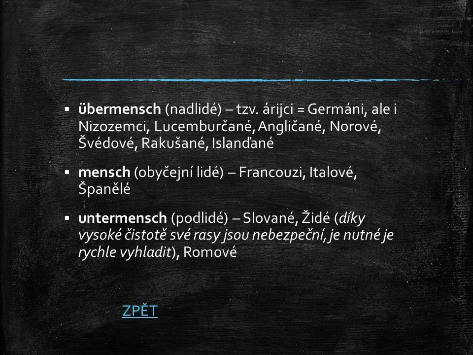  übermensch (nadlidé) – tzv. árijci = Germáni, ale i Nizozemci, Lucemburčané, Angličané, Norové, Švédové, Rakušané, Islanďané  mensch (obyčejní lidé