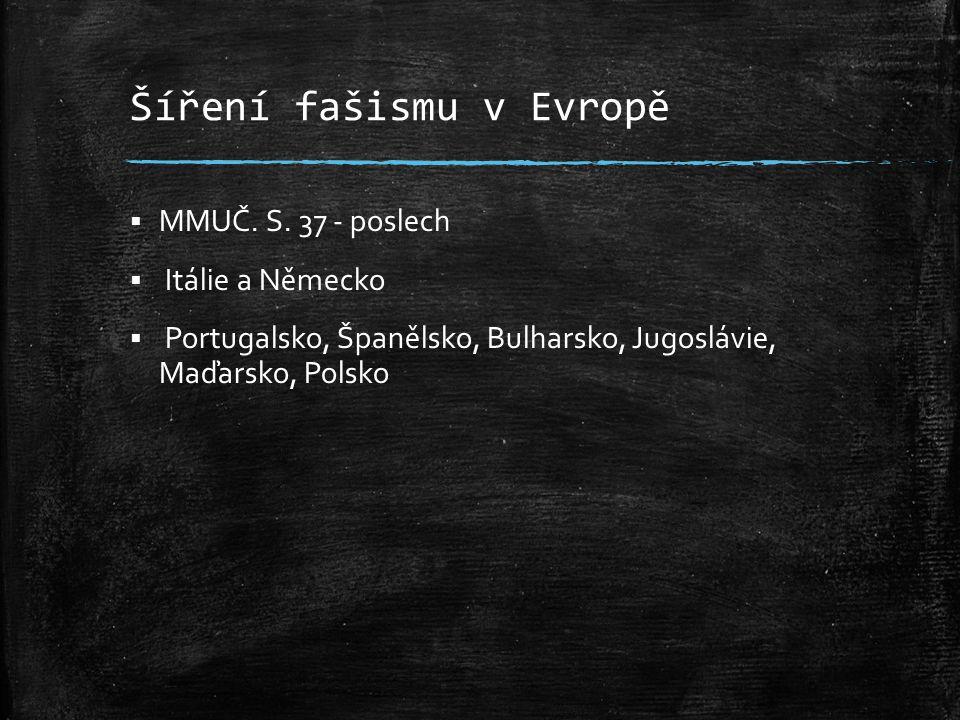 Šíření fašismu v Evropě  MMUČ. S. 37 - poslech  Itálie a Německo  Portugalsko, Španělsko, Bulharsko, Jugoslávie, Maďarsko, Polsko