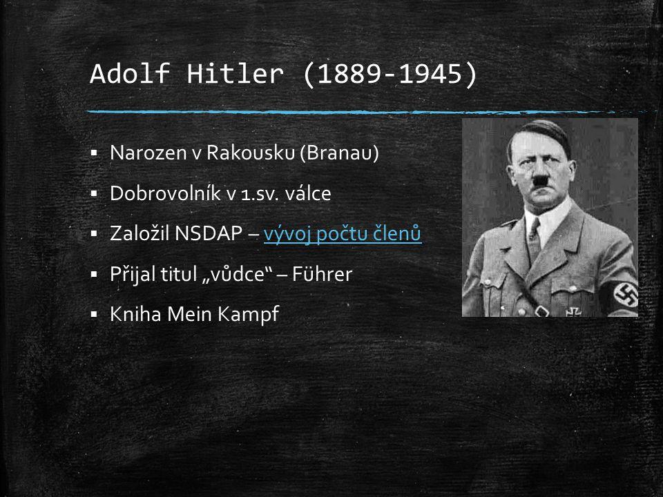 Adolf Hitler (1889-1945)  Narozen v Rakousku (Branau)  Dobrovolník v 1.sv. válce  Založil NSDAP – vývoj počtu členůvývoj počtu členů  Přijal titul