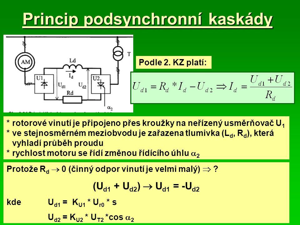 Princip podsynchronní kaskády *rotorové vinutí je připojeno přes kroužky na neřízený usměrňovač U 1 *ve stejnosměrném meziobvodu je zařazena tlumivka