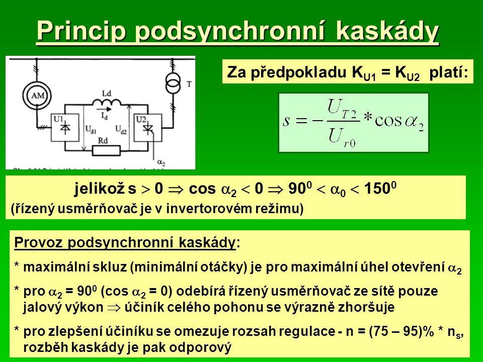 Princip podsynchronní kaskády jelikož s  0  cos  2  0  90 0   0  150 0 (řízený usměrňovač je v invertorovém režimu) Za předpokladu K U1 = K U2