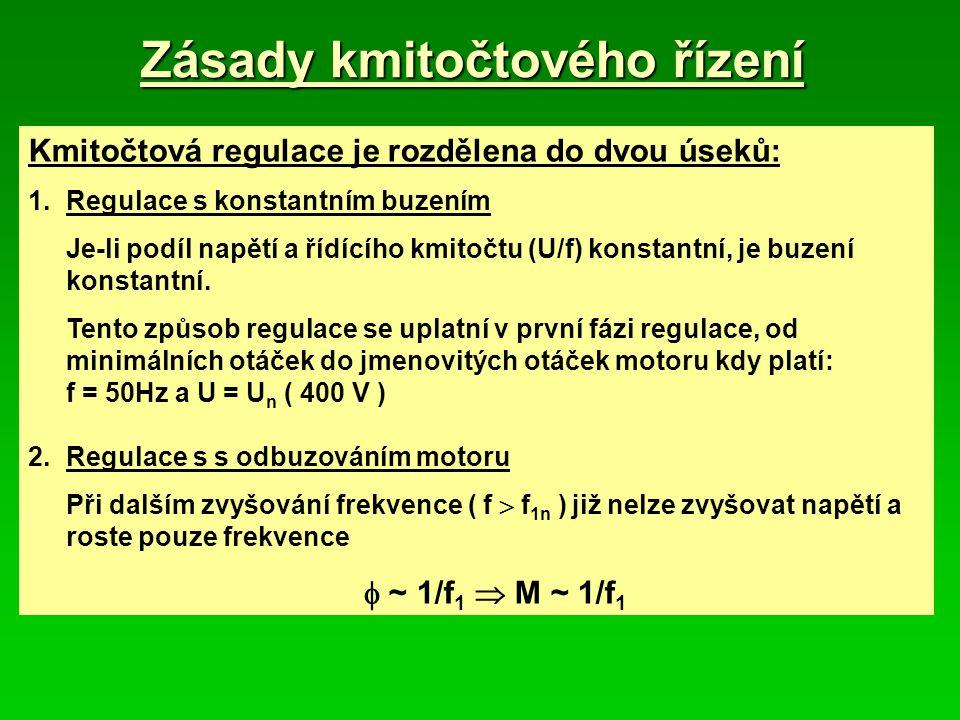 Zásady kmitočtového řízení Kmitočtová regulace je rozdělena do dvou úseků: 1.Regulace s konstantním buzením Je-li podíl napětí a řídícího kmitočtu (U/