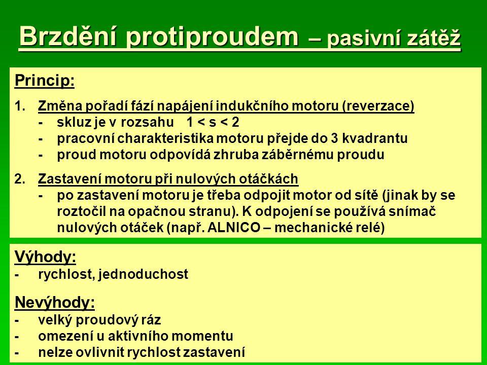 Brzdění protiproudem – pasivní zátěž Princip: 1.Změna pořadí fází napájení indukčního motoru (reverzace) -skluz je v rozsahu1 < s < 2 -pracovní charak