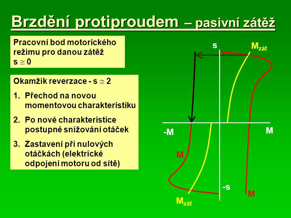 Brzdění protiproudem – pasivní zátěž M zát M -M s -s Pracovní bod motorického režimu pro danou zátěž s  0 Okamžik reverzace - s  2 1. Přechod na nov