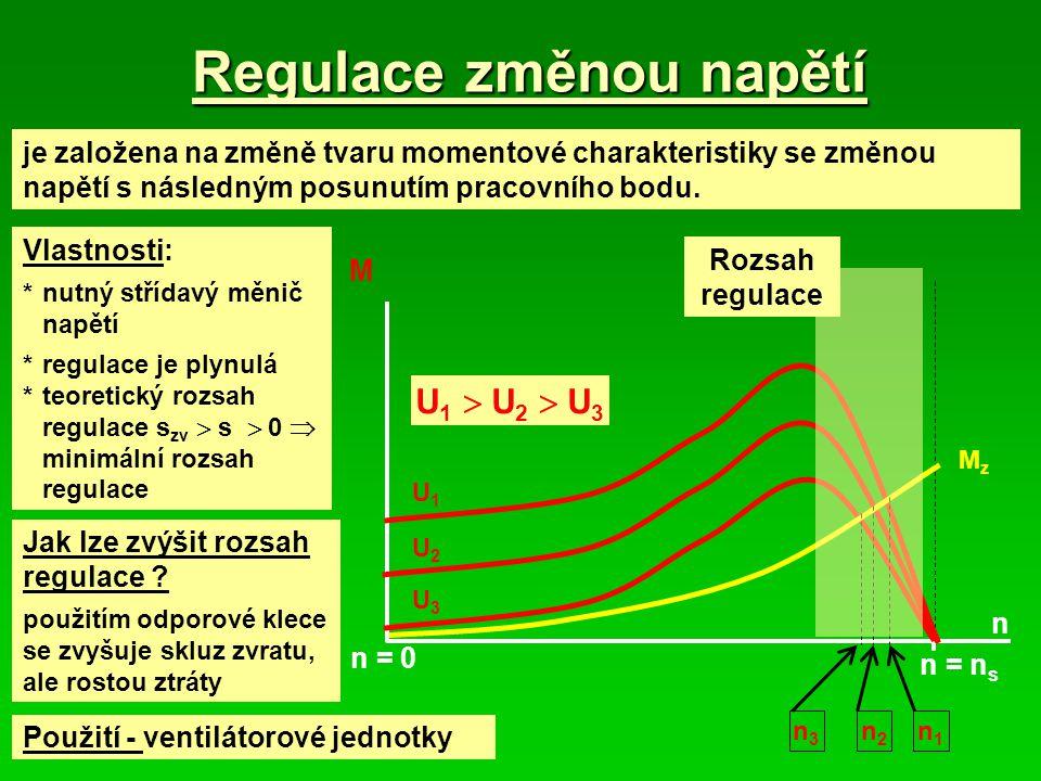 Regulace otáček změnou frekvence *v současné době nejrozšířenější způsob regulace *rozvoj polovodičové techniky umožňuje použití pro vyšší výkonu, snižování hmotnosti a ztrát měničů Momentová charakteristika: Ze základních vztahů indukčního motoru lze odvodit závislost mezi otáčkami a momentem: n = n 0 – K * M (matematicky y = k 1 – k 2 * x) Platí za předpokladu:R1 (odpor vinutí statoru)  0 pracovní rozsah skluzů s « s zv Daná momentová charakteristika odpovídá mechanické charakteristice stejnosměrného motoru s cizím buzením