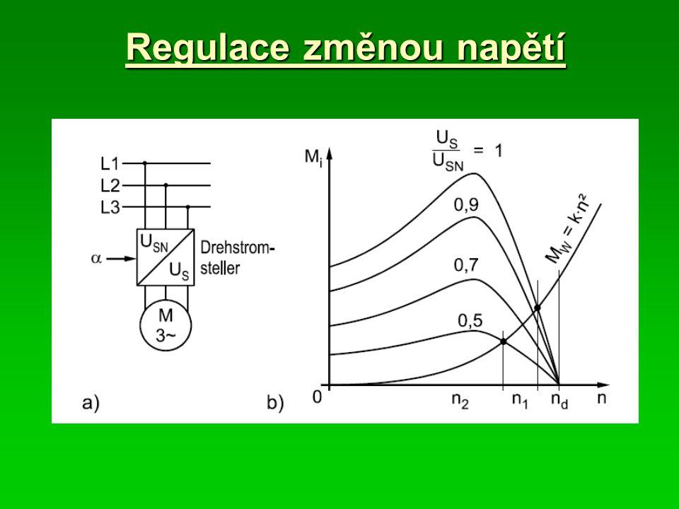 Brzdění protiproudem – pasivní zátěž Princip: 1.Změna pořadí fází napájení indukčního motoru (reverzace) -skluz je v rozsahu1 < s < 2 -pracovní charakteristika motoru přejde do 3 kvadrantu -proud motoru odpovídá zhruba záběrnému proudu 2.Zastavení motoru při nulových otáčkách -po zastavení motoru je třeba odpojit motor od sítě (jinak by se roztočil na opačnou stranu).