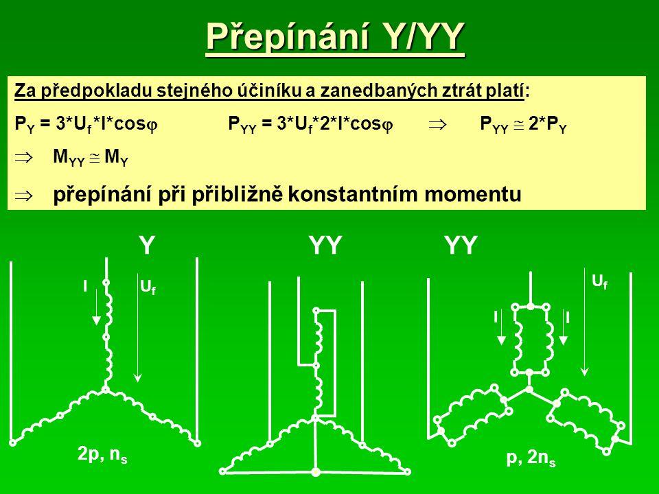 Přepínání Y/YY Za předpokladu stejného účiníku a zanedbaných ztrát platí: P Y = 3*U f *I*cos  P YY = 3*U f *2*I*cos  P YY  2*P Y  M YY  M Y  př