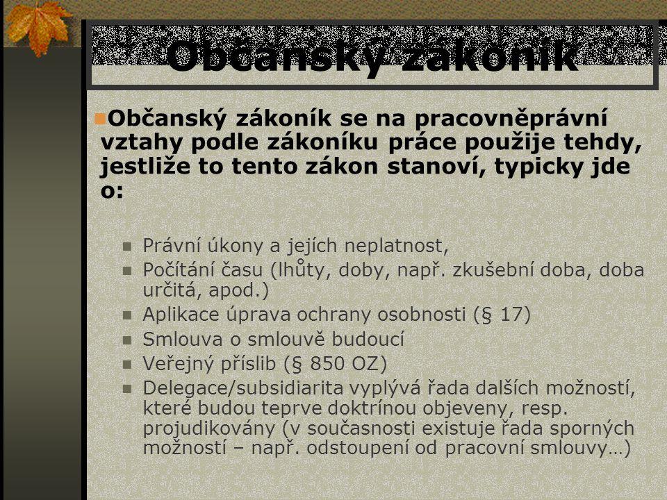 Občanský zákoník Občanský zákoník se na pracovněprávní vztahy podle zákoníku práce použije tehdy, jestliže to tento zákon stanoví, typicky jde o: Práv