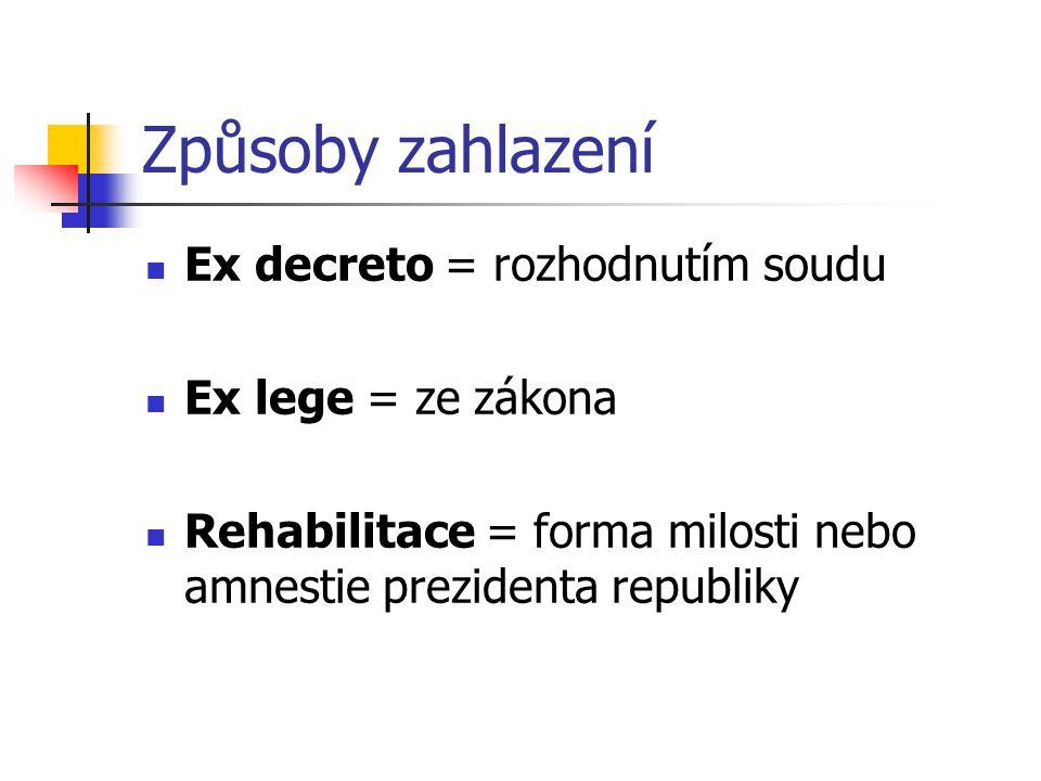 Způsoby zahlazení Ex decreto = rozhodnutím soudu Ex lege = ze zákona Rehabilitace = forma milosti nebo amnestie prezidenta republiky