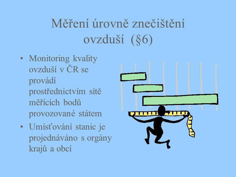 Měření úrovně znečištění ovzduší (§6) Monitoring kvality ovzduší v ČR se provádí prostřednictvím sítě měřících bodů provozované státem Umísťování stanic je projednáváno s orgány krajů a obcí