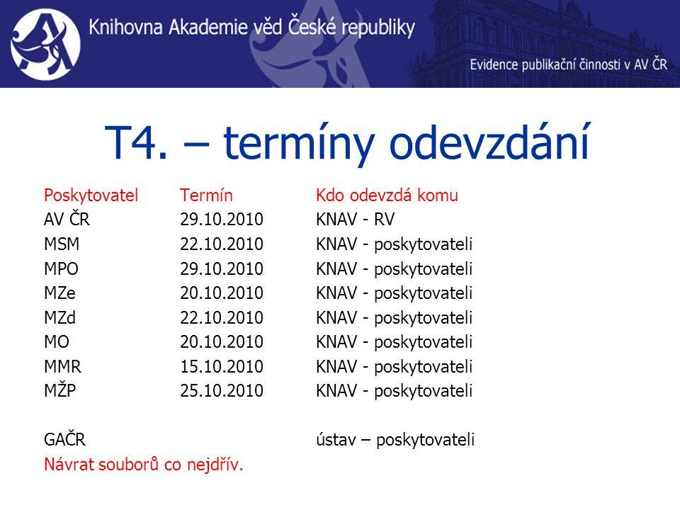 T4. – termíny odevzdání PoskytovatelTermínKdo odevzdá komu AV ČR 29.10.2010KNAV - RV MSM22.10.2010KNAV - poskytovateli MPO29.10.2010KNAV - poskytovate
