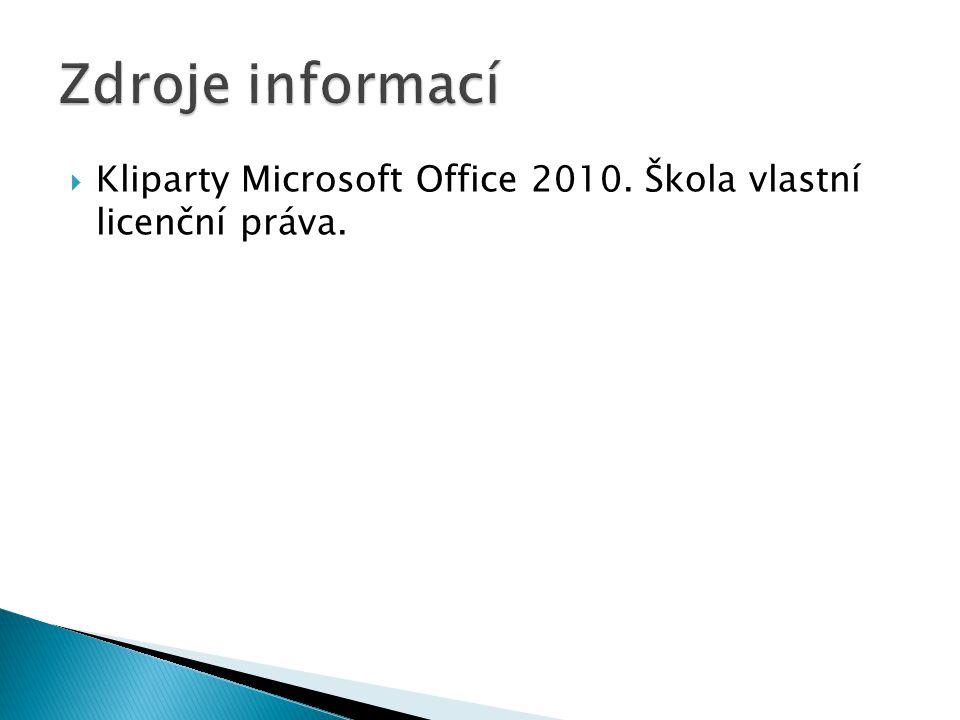 Kliparty Microsoft Office 2010. Škola vlastní licenční práva.