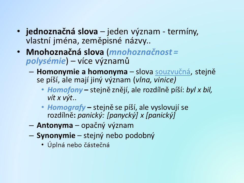 jednoznačná slova – jeden význam - termíny, vlastní jména, zeměpisné názvy.. Mnohoznačná slova (mnohoznačnost = polysémie) – více významů – Homonymie