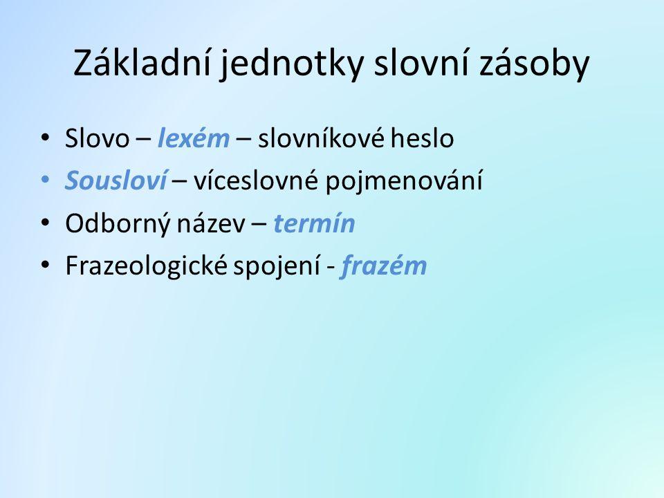 Základní jednotky slovní zásoby Slovo – lexém – slovníkové heslo Sousloví – víceslovné pojmenování Odborný název – termín Frazeologické spojení - fraz