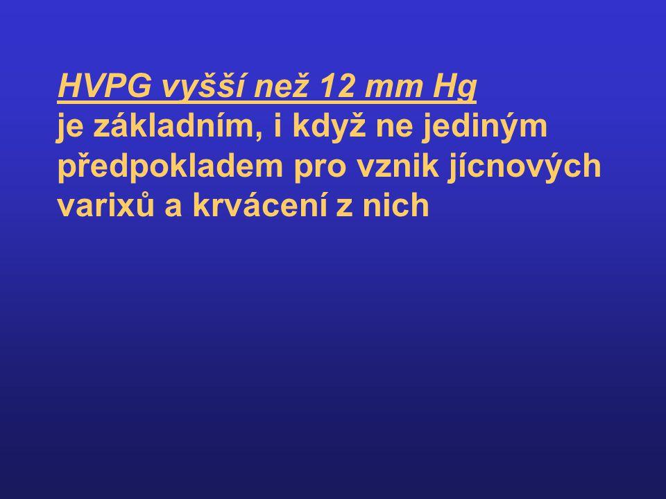 HVPG vyšší než 12 mm Hg je základním, i když ne jediným předpokladem pro vznik jícnových varixů a krvácení z nich