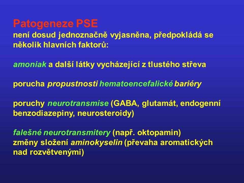 Patogeneze PSE není dosud jednoznačně vyjasněna, předpokládá se několik hlavních faktorů: amoniak a další látky vycházející z tlustého střeva porucha propustnosti hematoencefalické bariéry poruchy neurotransmise (GABA, glutamát, endogenní benzodiazepiny, neurosteroidy) falešné neurotransmitery (např.