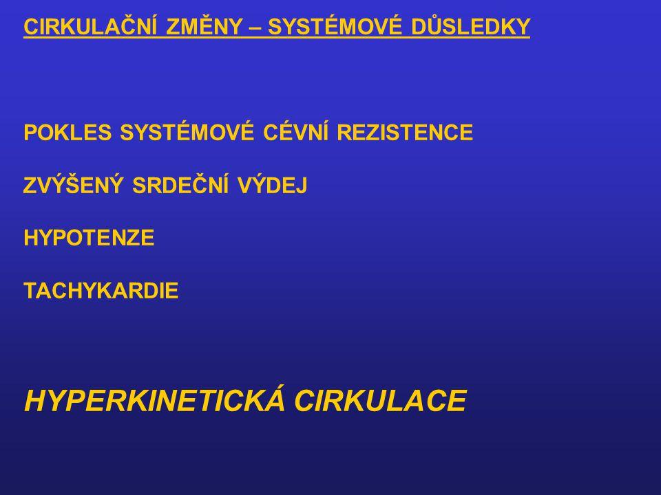 CIRKULAČNÍ ZMĚNY – SYSTÉMOVÉ DŮSLEDKY POKLES SYSTÉMOVÉ CÉVNÍ REZISTENCE ZVÝŠENÝ SRDEČNÍ VÝDEJ HYPOTENZE TACHYKARDIE HYPERKINETICKÁ CIRKULACE