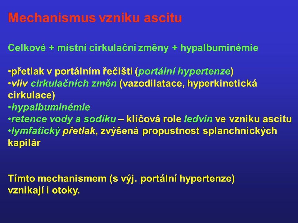 Mechanismus vzniku ascitu Celkové + místní cirkulační změny + hypalbuminémie přetlak v portálním řečišti (portální hypertenze) vliv cirkulačních změn (vazodilatace, hyperkinetická cirkulace) hypalbuminémie retence vody a sodíku – klíčová role ledvin ve vzniku ascitu lymfatický přetlak, zvýšená propustnost splanchnických kapilár Tímto mechanismem (s výj.