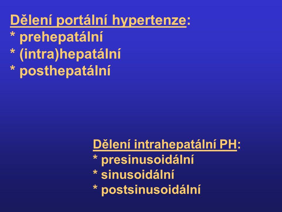 Mechanismy vzniku portální hypertenze a)zvýšený odpor v jaterním řečišti mechanický v důsledku přestavby jaterní struktury a fibrózy funkčně podmíněný (endoteliální dysfunkce, aktivace Itových bb., zvýšená produkce vazokonstrikčně působícího endotelinu, snížená produkce vazodilatačně působícího oxidu dusnatého – NO) b) zvýšený průtok portální oblastí v důsledku vazodilatace a hyperkinetické cirkulace (zejm.