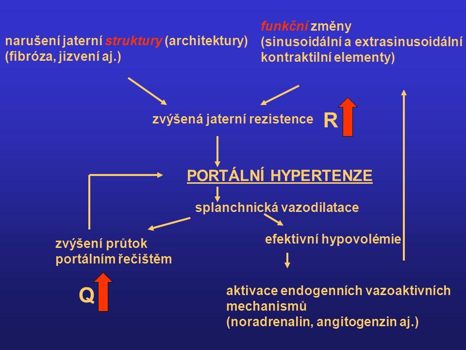 narušení jaterní struktury (architektury) (fibróza, jizvení aj.) funkční změny (sinusoidální a extrasinusoidální kontraktilní elementy) zvýšená jaterní rezistence PORTÁLNÍ HYPERTENZE splanchnická vazodilatace zvýšení průtok portálním řečištěm efektivní hypovolémie aktivace endogenních vazoaktivních mechanismů (noradrenalin, angitogenzin aj.) Q R
