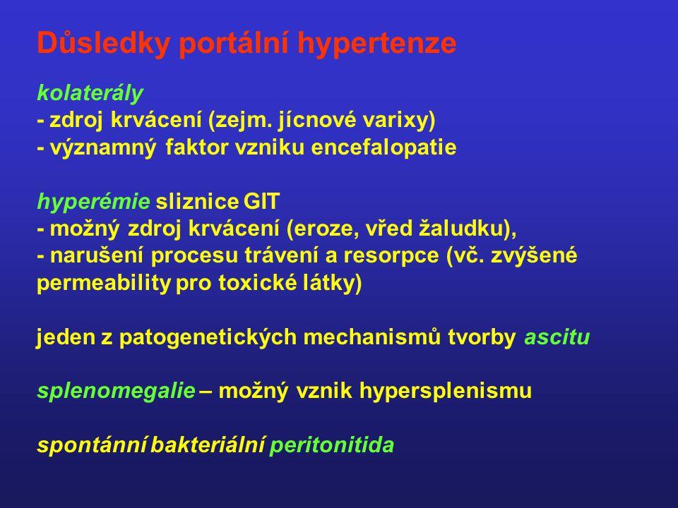 CIRKULAČNÍ ZMĚNY – DŮSLEDKY hypotenze a snížený efektivní plasmatický objem vedou k aktivaci vazokonstrikčních mechanismů a retenci tekutin - sympatikus - ADH - renin-angiotenzin-aldosteron ASCITES HEPATORENÁLNÍ SYNDROM změny vnitřního prostředí zhoršení portální hypertenze