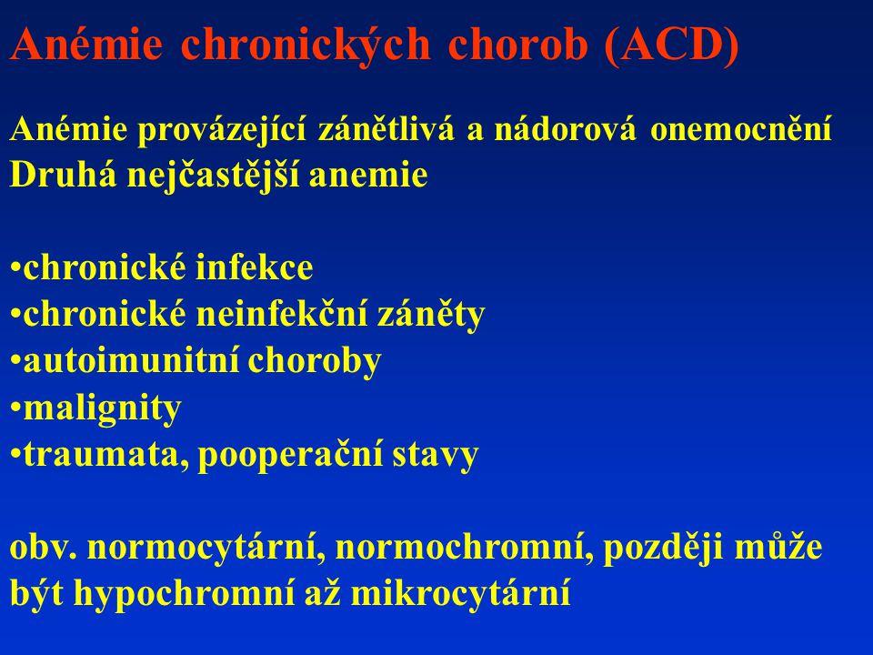 Anémie chronických chorob (ACD) Anémie provázející zánětlivá a nádorová onemocnění Druhá nejčastější anemie chronické infekce chronické neinfekční záněty autoimunitní choroby malignity traumata, pooperační stavy obv.