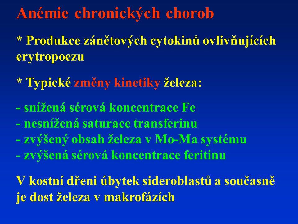 Anémie chronických chorob * Produkce zánětových cytokinů ovlivňujících erytropoezu * Typické změny kinetiky železa: - snížená sérová koncentrace Fe -