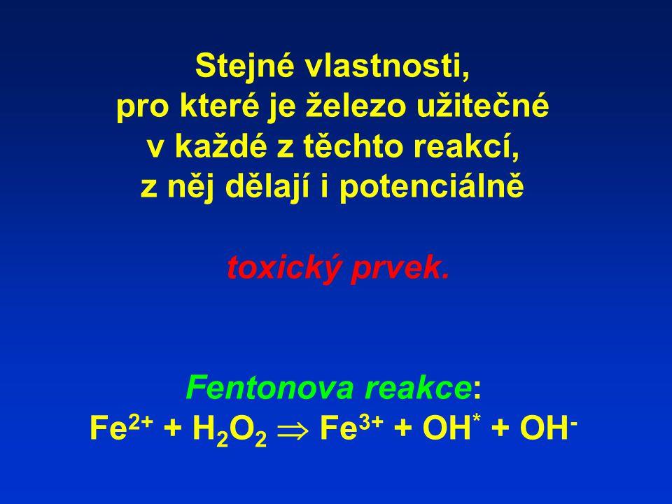 Stejné vlastnosti, pro které je železo užitečné v každé z těchto reakcí, z něj dělají i potenciálně toxický prvek. Fentonova reakce: Fe 2+ + H 2 O 2 
