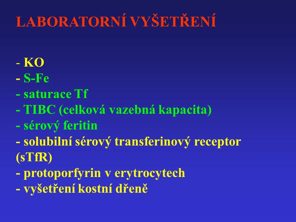 LABORATORNÍ VYŠETŘENÍ - KO - S-Fe - saturace Tf - TIBC (celková vazebná kapacita) - sérový feritin - solubilní sérový transferinový receptor (sTfR) - protoporfyrin v erytrocytech - vyšetření kostní dřeně