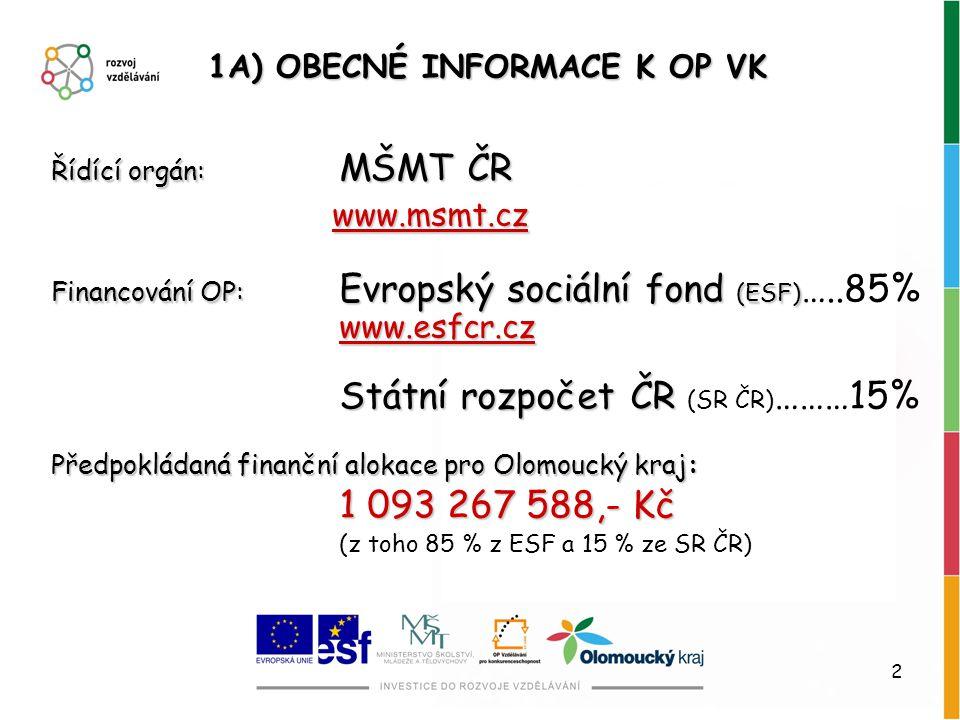 2 1A) OBECNÉ INFORMACE K OP VK Řídící orgán: MŠMT ČR www.msmt.cz www.msmt.cz Financování OP: Evropský sociální fond (ESF) www.esfcr.cz Financování OP: