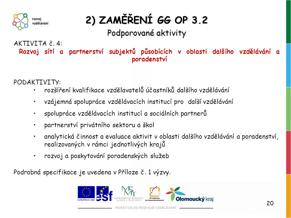 20 AKTIVITA č. 4: Rozvoj sítí a partnerství subjektů působících v oblasti dalšího vzdělávání a poradenství PODAKTIVITY: rozšíření kvalifikace vzdělava
