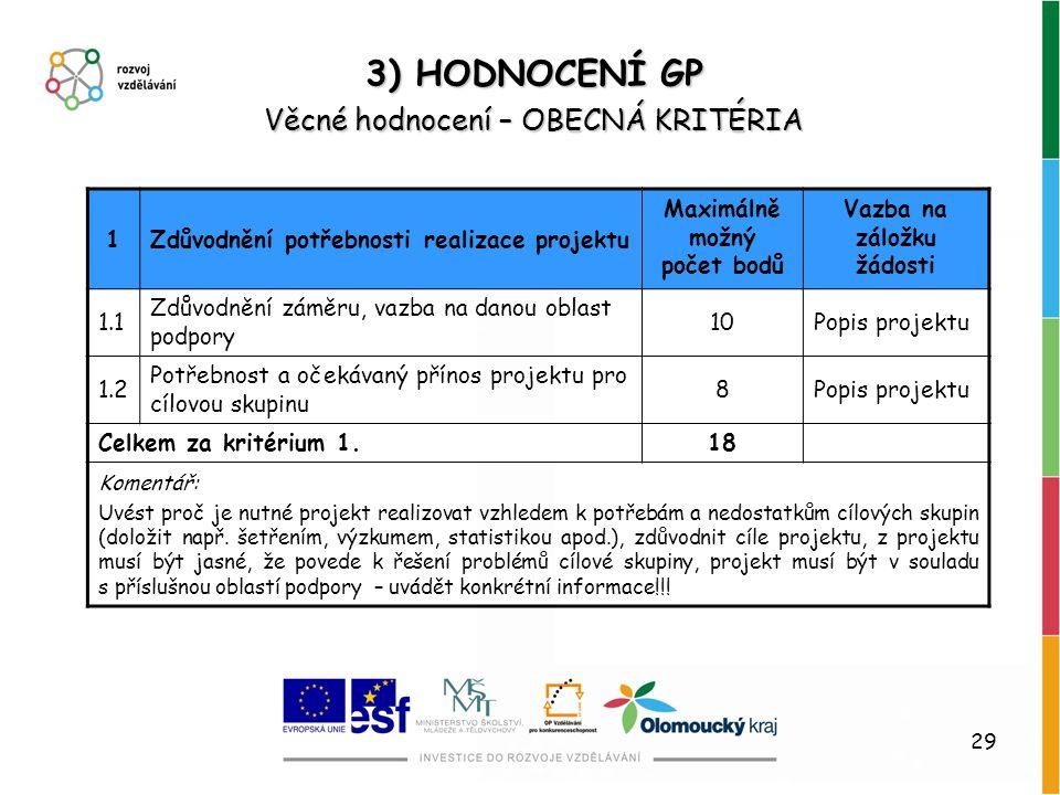 29 3) HODNOCENÍ GP Věcné hodnocení – OBECNÁ KRITÉRIA 1Zdůvodnění potřebnosti realizace projektu Maximálně možný počet bodů Vazba na záložku žádosti 1.