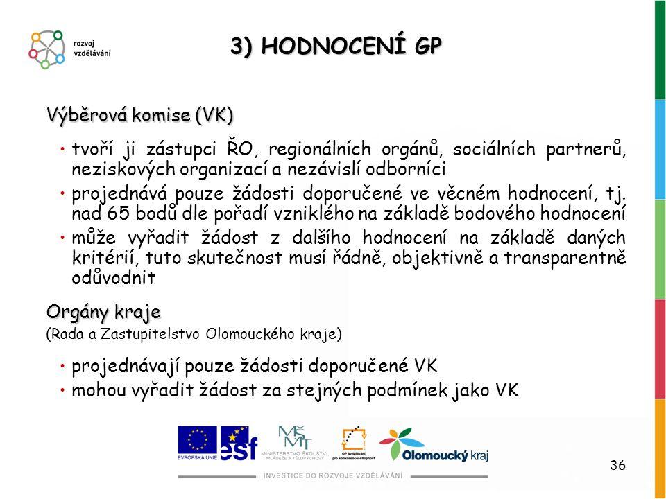 36 3) HODNOCENÍ GP Výběrová komise (VK) tvoří ji zástupci ŘO, regionálních orgánů, sociálních partnerů, neziskových organizací a nezávislí odborníci p
