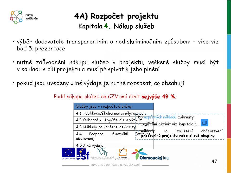47 4A) Rozpočet projektu Kapitola Kapitola 4. Nákup služeb výběr dodavatele transparentním a nediskriminačním způsobem – více viz bod 5. prezentace nu