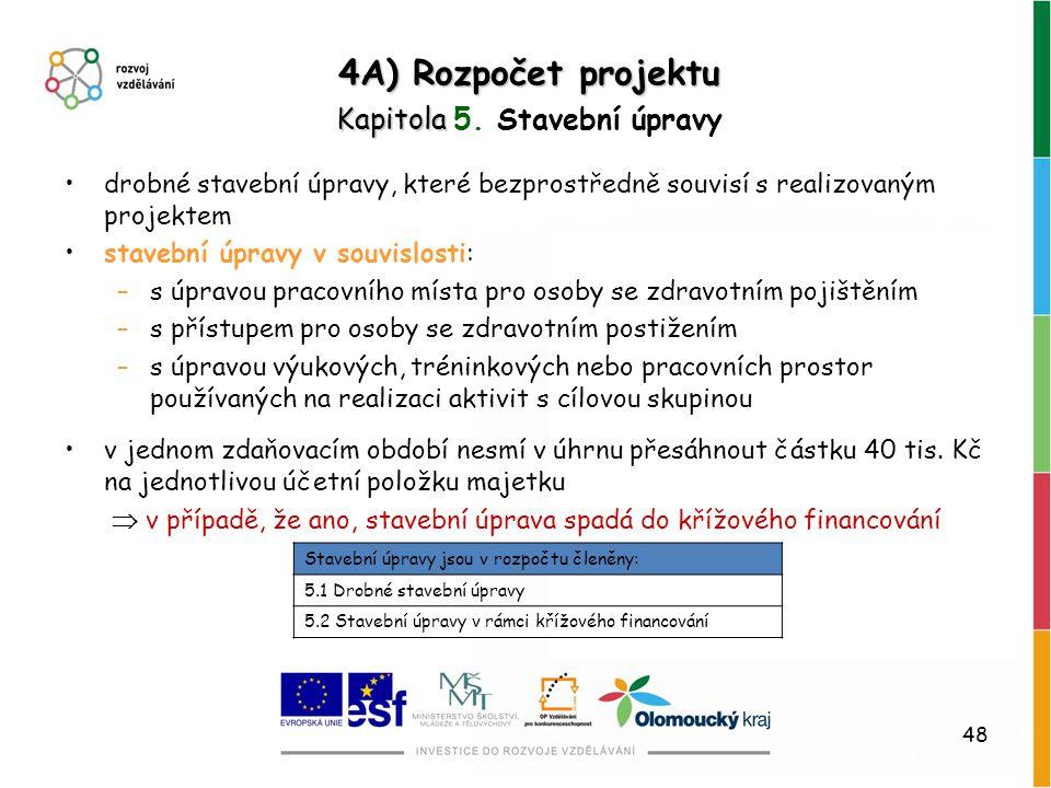 48 4A) Rozpočet projektu Kapitola Kapitola 5. Stavební úpravy drobné stavební úpravy, které bezprostředně souvisí s realizovaným projektem stavební úp