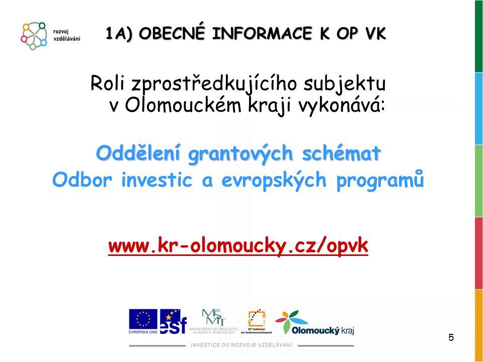 5 Roli zprostředkujícího subjektu v Olomouckém kraji vykonává: Oddělení grantových schémat Odbor investic a evropských programů www.kr-olomoucky.cz/op