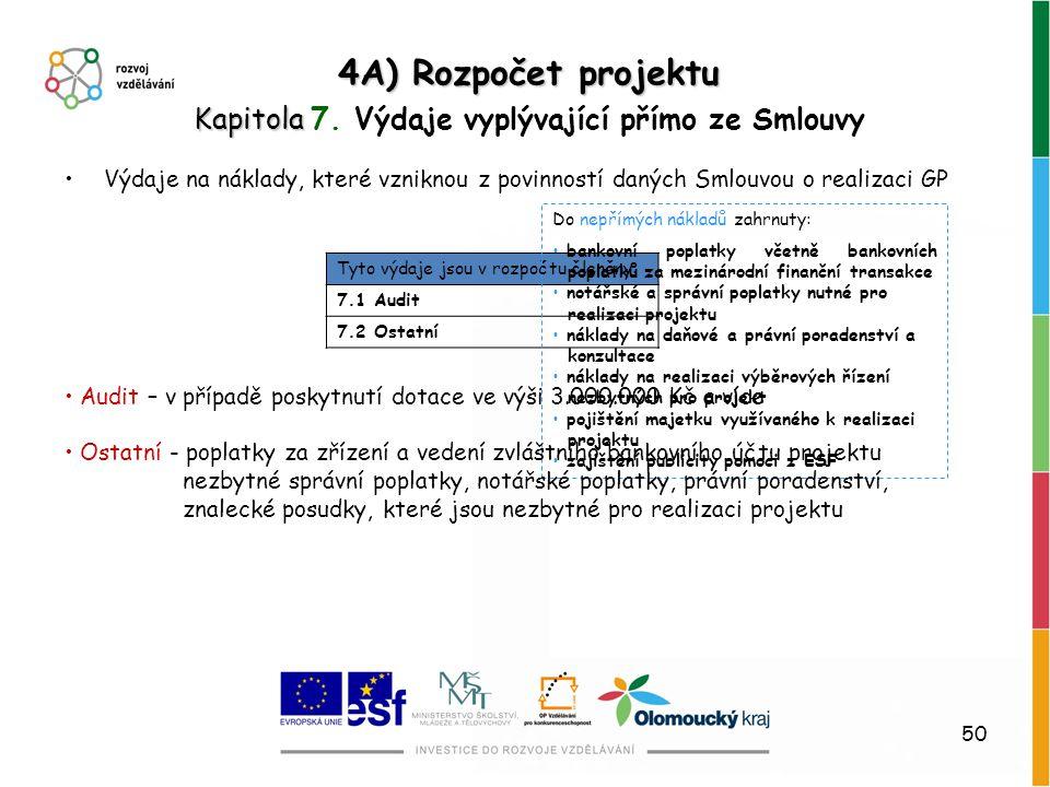 50 4A) Rozpočet projektu Kapitola Kapitola 7. Výdaje vyplývající přímo ze Smlouvy Tyto výdaje jsou v rozpočtu členěny: 7.1 Audit 7.2 Ostatní Výdaje na