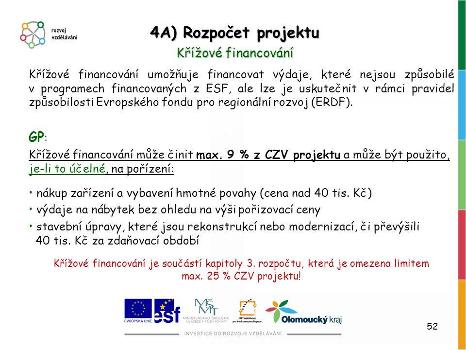 52 Křížové financování umožňuje financovat výdaje, které nejsou způsobilé v programech financovaných z ESF, ale lze je uskutečnit v rámci pravidel způ