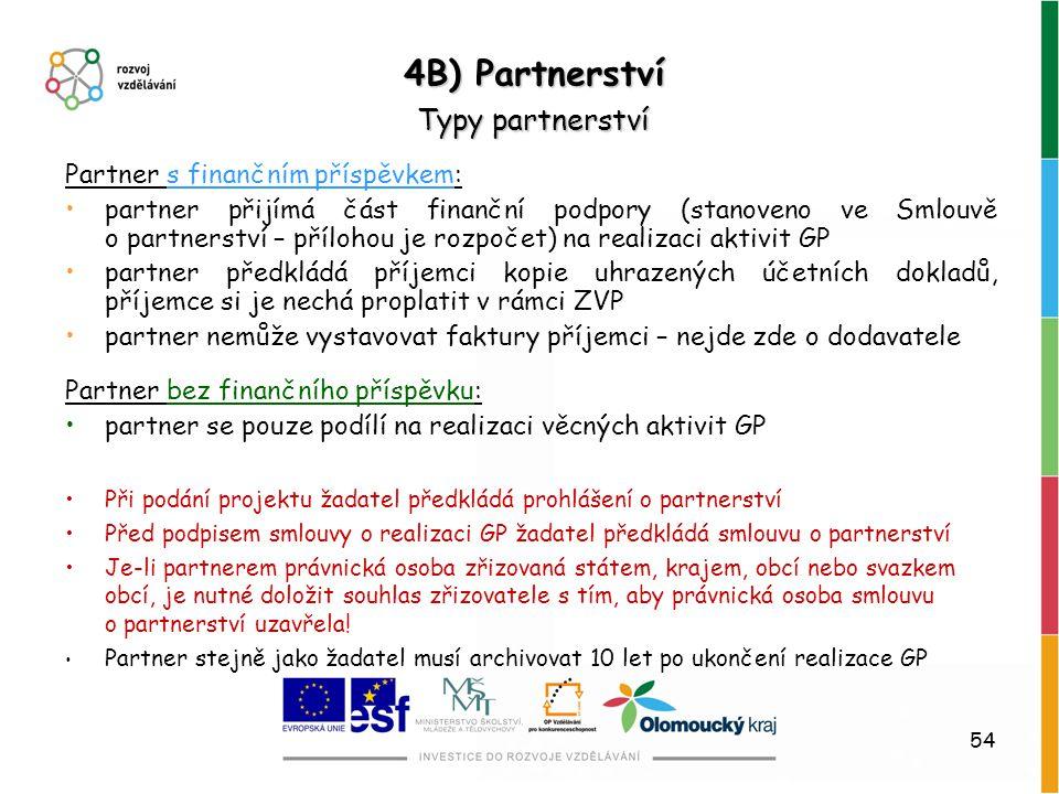 54 4B) Partnerství Typy partnerství Partner s finančním příspěvkem: partner přijímá část finanční podpory (stanoveno ve Smlouvě o partnerství – příloh